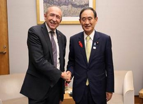 Gérard Collomb et le n°2 du gouvernement japonais - DR