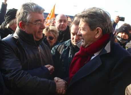 André Gerin et Jean-Luc Mélenchon sur le site du producteur vynilique Arkéman à Saint-Fons - LyonMag