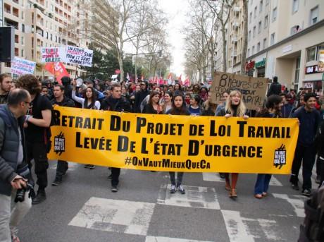 Le cortège lors d'une précédente manifestation contre la loi Travail à Lyon - Lyonmag.com