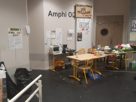 L'amphi O lors de son occupation en 2017 - LyonMag