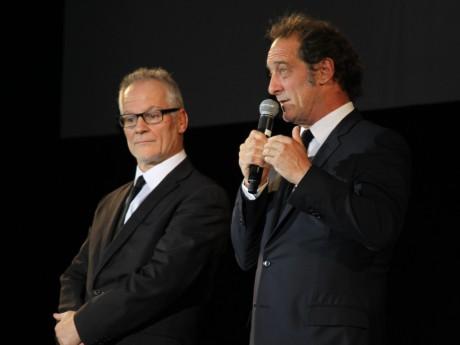 Thierry Frémaux, sur la scène du Festival Lumière, ici aux côtés de Vincent Lindon - LyonMag