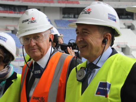 Jean-Michel Aulas et Gérard Collomb, sur le chantier du Grand Stade - LyonMag