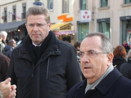 Gérard Gavory (à gauche), ici avec Michel Delpuech - LyonMag