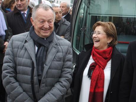 Jean-Michel Aulas, ici avec Annie Guillemot (Sytral), a de quoi avoir le sourire - LyonMag