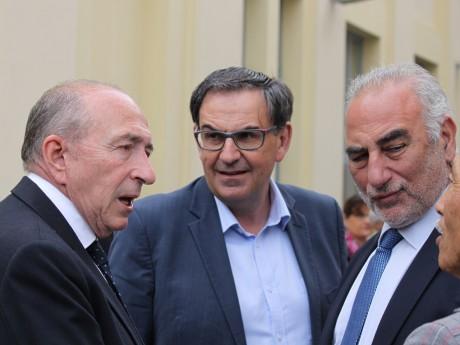 Georges Képénékian, ici à droite, avec Gérard Collomb et David Kimelfeld - LyonMag