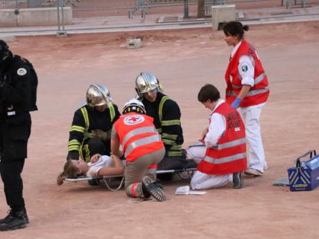 Les pompiers, ici mobilisés lors de la simulation d'un attentat place Bellecour - LyonMag