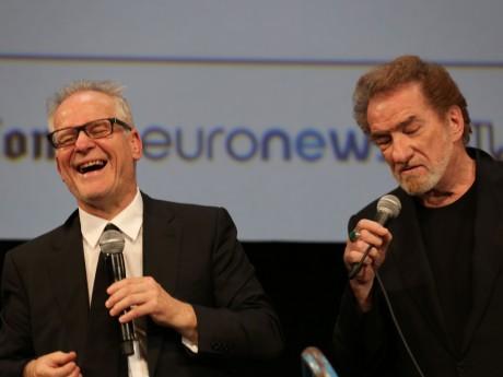 Thierry Frémaux et Eddy Mitchell l'an dernier sur la scène de la Halle Tony-Garnier à l'ouverture - LyonMag