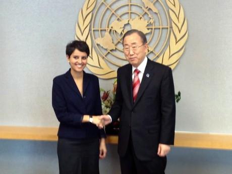 Najat Vallaud-Belkacem et Ban Ki Moon - DR Facebook NVB
