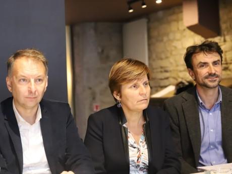 Bruno Bernard et Grégory Doucet, ici avec Béatrice Vessiller - LyonMag