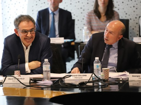 David Kimelfeld et Gérard Collomb vendredi lors du vote au Sytral - LyonMag