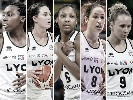 Cinq des sept joueuses dont le départ vient d'être annoncé (de gauche à droite: Diawara, Peters, Lezin, Allen, Plust) - Lyon ASVEL Féminin