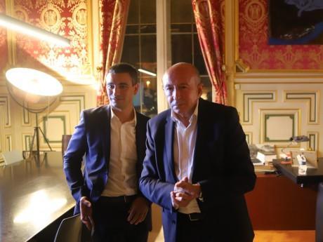 Yann Cucherat et Gérard Collomb dimanche soir dans le bureau du maire - LyonMag