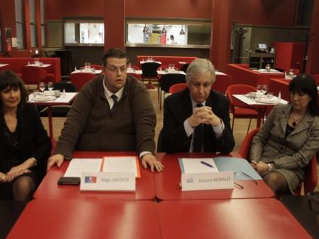 Régis Lacoste et Richard Morales, lors de la conférence scellant leur partenariat politique - LyonMag