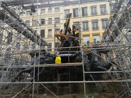 La sculpture d'Amphitrite avait repris sa place en octobre dernier - LyonMag