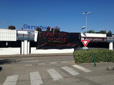 Les éleveurs devant le Carrefour Ecully - LyonMag
