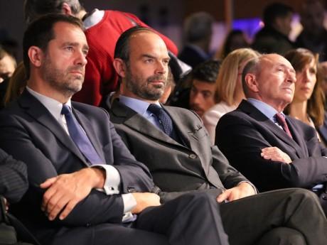 Christophe Castaner, Edouard Philippe et Gérard Collomb lors du Congrès de LREM à Eurexpo - LyonMag