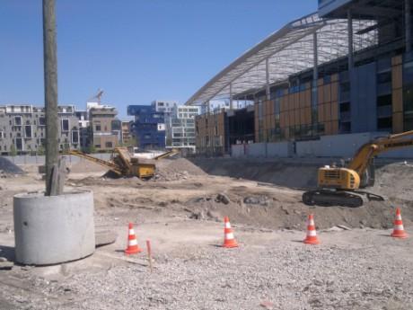 Le chantier de la Confluence dans le 2e arrondissement - Photo LyonMag