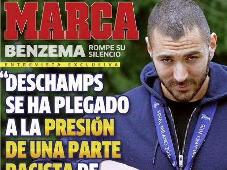 La Une de Marca ce mercredi avec Karim Benzema - DR