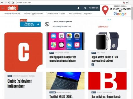 La page d'accueil de Clubic.com - Capture d'écran