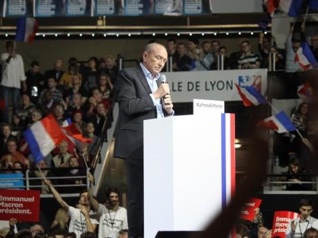 Gérard Collomb lors d'un meeting d'Emmanuel Macron - LyonMag