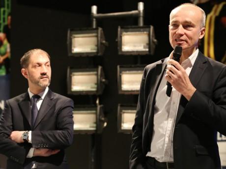 Laurent Constantin et Jean-Pierre Vacher ce mardi matin à la présentation des 30 ans de TLM - LyonMag