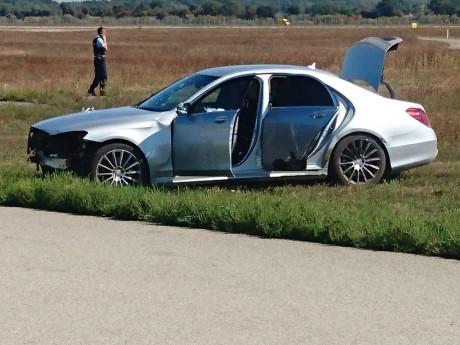 Le véhicule accidenté du chauffard - Exclusif LyonMag