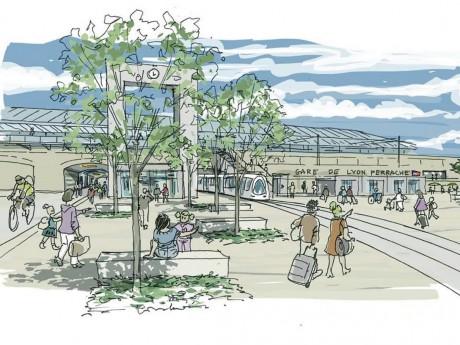 Nouvelle entrée de la gare de Perrache place des Archives - DR Colas Vienne - Atelier Ruelle