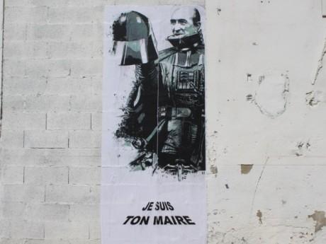 Un adepte du street-art avait déjà comparé Gérard Collomb à un personnage de la Guerre des Etoiles, Dark Vador - LyonMag