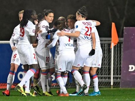 Les Lyonnaises célébrant un but cet après-midi - DR @OLfeminin