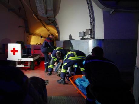 Une fausse victime secourue dans les galeries de l'ouvrage enterré - LyonMag