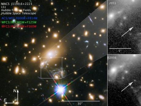 Etoile Icare (flèche) apparaissant en 2016 sur les images du télescope Hubble - NASA, ESA & P.Kelly