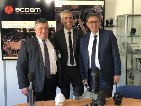 Max Vincent, Fabien Condemine et David Kimelfeld lors de la viste de l'entreprise - LyonMag