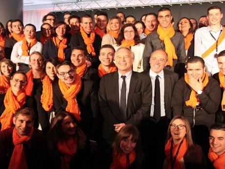 François Rebsamen, ici avec Stéphane Richard dans les locaux d'Orange - LyonMag