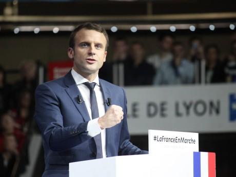 Emmanuel Macron lors de son meeting au Palais des Sports de Gerland - LyonMag