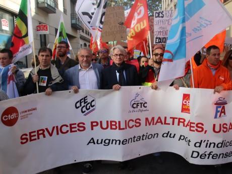 Jean-Claude Mailly en tête de cortège ce mardi à Lyon - LyonMag