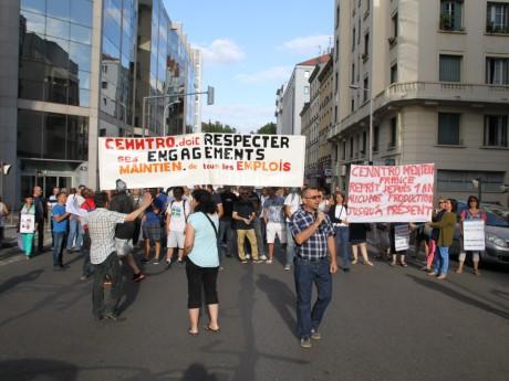 Les salariés de Cenntro Motors lors d'une récente manifestation à Lyon - LyonMag