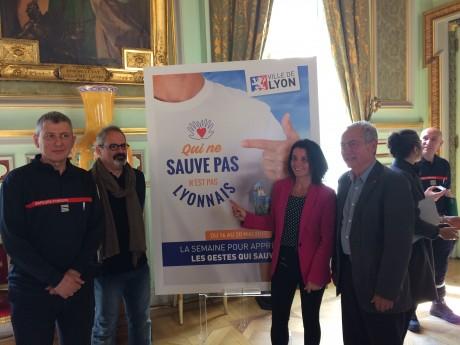 Serge Delaigue, Olivier Guillemin, Céline Faurie-Gauthier et Jacques Beaune à l'Hôtel de ville - LyonMag