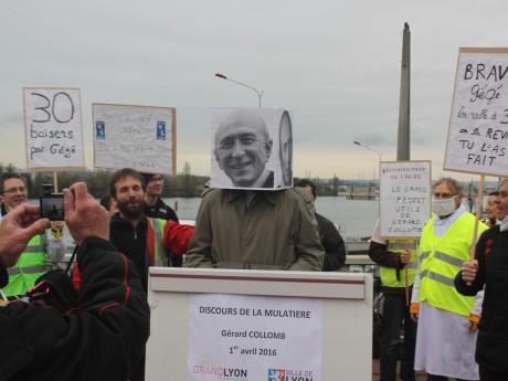 Le discours du faux Gérard Collomb sur le pont de la Mulatière - LyonMag