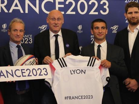 Jean-Jacques Selles (Métropole), Bernard Laporte, Yann Cucherat et Pascal Papé (FFR) - LyonMag