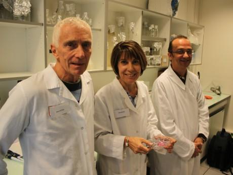De gauche à droite, Philippe Durand, co-fondateur de Kallistem, Marie-Hélène Perrard, co-fondatrice de Kallistem, et Laurent David, chercheur à l'Université Lyon 1 - LyonMag