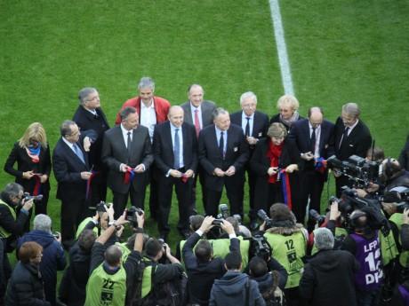 Laurence Fautra (à gauche) et Jean-Michel Aulas (au centre) lors de l'inauguration du Parc OL - Lyonmag.com