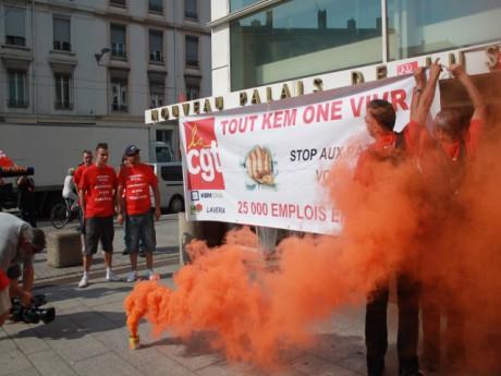 Le rassemblement des salariés de Kem One le 9 juillet dernier - LyonMag.com