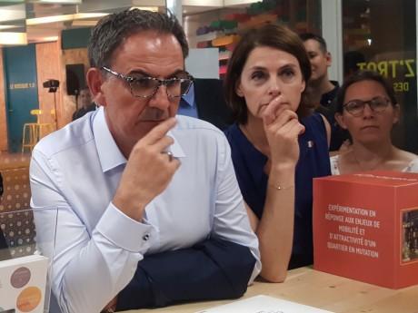 David Kimelfeld, président de la Métropole de Lyon, et Karine Dognin-Sauze, sa vice-présidente, en visite des nouveaux locaux du TUBÀ - LyonMag