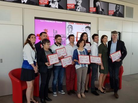 Les lauréats Pass French Tech et Virginie Delplanque, déléguée général de Lyon French Tech - LyonMag