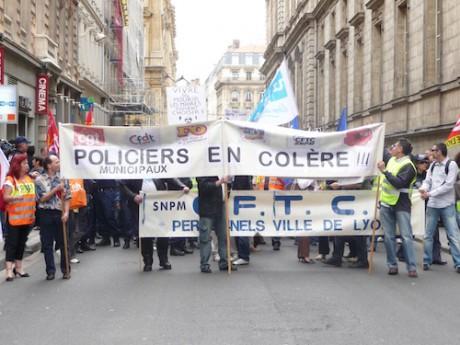 Manifestation de policiers. Photo LyonMag.com