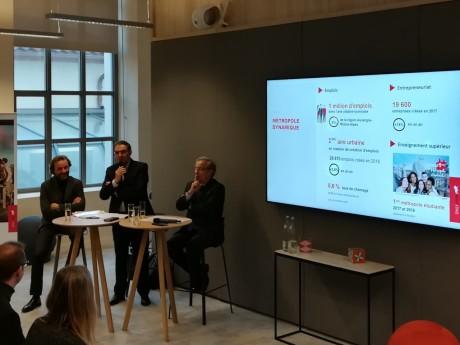 Jean-Charles Foddis, David Kimelfed et Emmanuel Imberton lors de la conférence de présentation des résultats - LyonMag