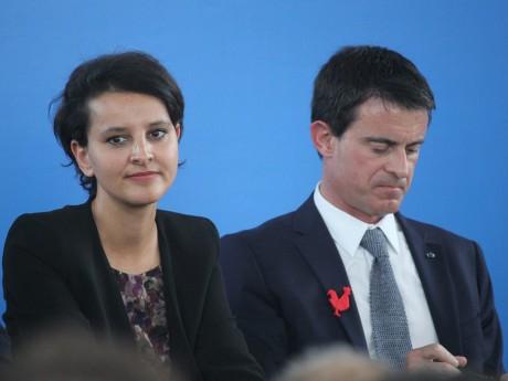 Najat Vallaud-Belkacem et Manuel Valls lors d'une visite à Lyon - LyonMag