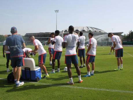Les Lyonnais à l'entraînement la semaine dernière à Tola Vologe - LyonMag.com