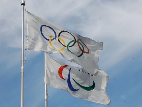 Drapeau des Jeux Olympiques. Photo LyonMag.com