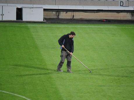 Un jardinier sur la pelouse de Gerland - LyonMag